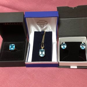 Trio of blue topaz.   Ring, necklace & earrings.